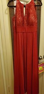Red dress with sparkle top evening gown style